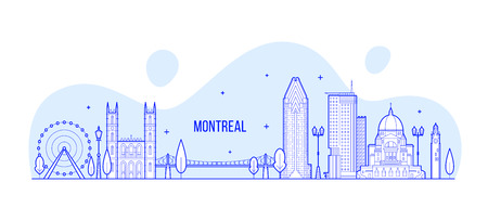 Montreal skyline, Canada. This illustration represents the city with its most notable buildings. Vector is fully editable, every object is holistic and movable 矢量图像