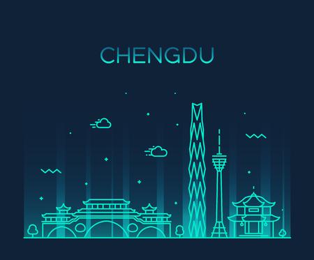 Skyline von Chengdu, Provinz Sichuan, China. Trendiger linearer Stil der Vektorillustration