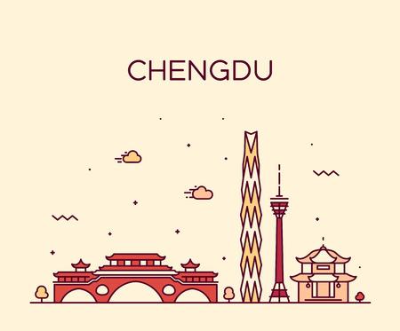 Horizonte de Chengdu, provincia de Sichuan, China. Estilo lineal de ilustración vectorial de moda