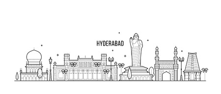 Hyderabad skyline, Telangana, India. This illustration represents the city with its most notable buildings. Vector is fully editable, every object is holistic and movable Ilustrace