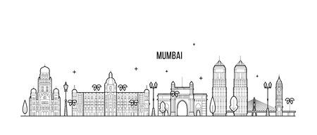 Mumbai skyline Maharashtra India city line vector