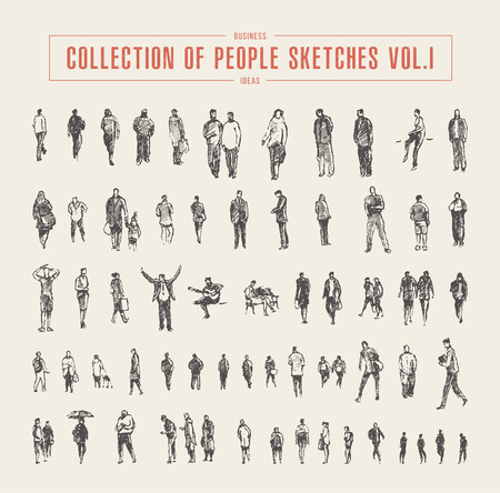 Collection of people sketches, vector Illustration, hand drawn