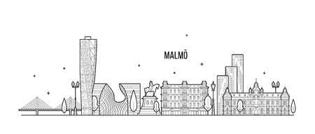 Malmo skyline, Sweden. This illustration represents the city with its most notable buildings. Vector is fully editable, every object is holistic and movable
