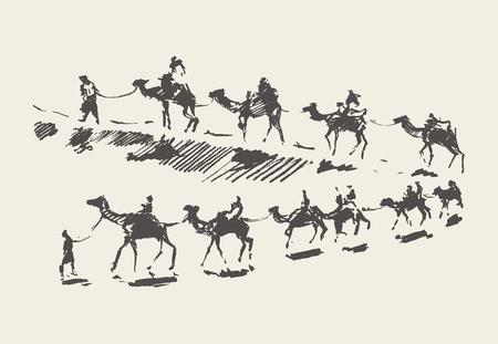 Caravana con camellos en el desierto, Ilustración de vector dibujado a mano, bosquejo Ilustración de vector