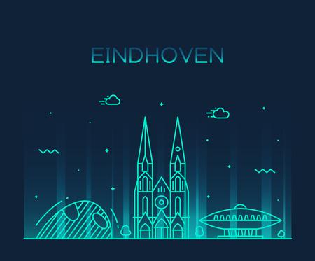 Eindhoven skyline Netherlands vector line big city  イラスト・ベクター素材