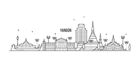 Yangon Rangoon skyline Myanmar city vector linear