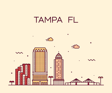 Tampa skyline Hillsborough Florida USA city vector