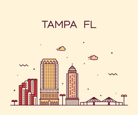 Tampa Skyline Hillsborough Florida USA Stadtvektor Vektorgrafik