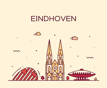 Eindhoven skyline, Netherlands. Trendy vector illustration linear style
