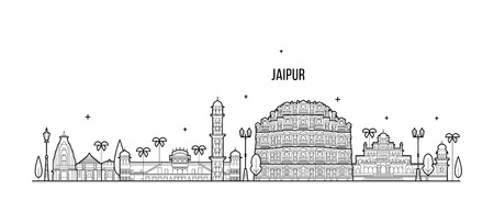 Jaipur skyline Rajasthan India city vector linear