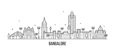 Bangalore skyline, Karnataka, India. This illustration represents the city with its most notable buildings. Vector is fully editable, every object is holistic and movable