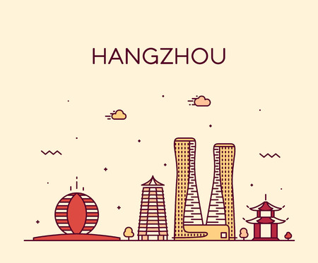Hangzhou skyline, Zhejiang Province, East China. Trendy vector illustration, linear style