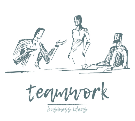 Sketch of a business people having a meeting, team members are discussing a new project, concept vector illustration