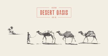 Caravana de camellos caminando hacia el oasis en el desierto, Ilustración de vector dibujado a mano, bosquejo