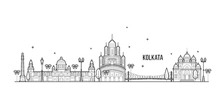 Kolkata skyline, West Bengal, India. This illustration represents the city with its most notable buildings. Vector is fully editable, every object is holistic and movable