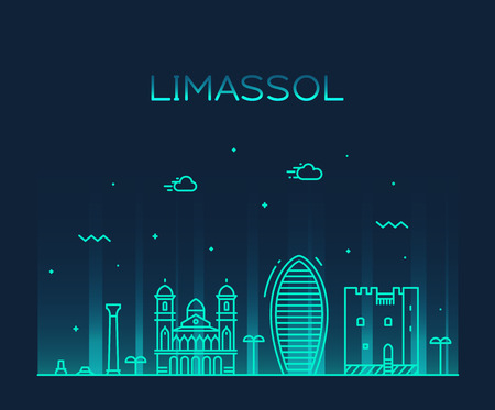 Limassol skyline, Cyprus. Trendy vector illustration linear style