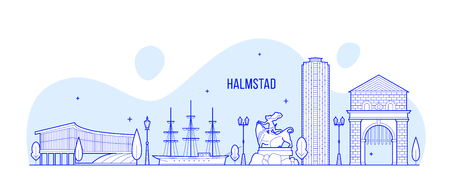 Halmstad skyline, the province of Halland, Swedish. This illustration represents the city with its most notable buildings. Vector is fully editable, every object is holistic and movable Stock Illustratie