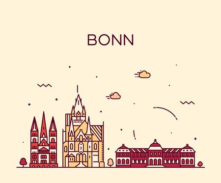 Bonn skyline North Rhine Westphalia Germany vector