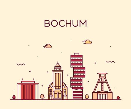 Bochum skyline, Germany. Trendy vector illustration linear style Illustration