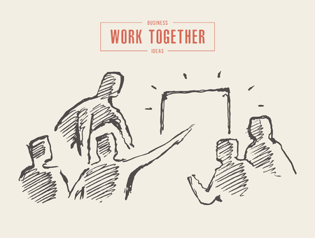 Business people at the meeting, planning, teamwork, partnership, together concept, vector illustration sketch