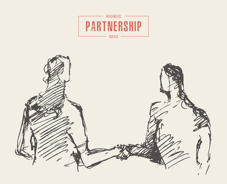 Sketch of a successful business meeting, businessman and businesswoman handshake, partnership, hand drawn vector illustration