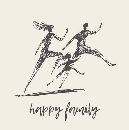 Mutter-Vater-Kind-Silhouette-Logo-Familienvektor Logo