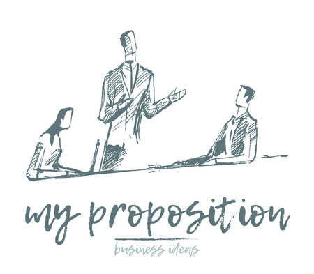 Sketch of a business people having a meeting, proposition, brainstorming, teamwork, concept vector illustration