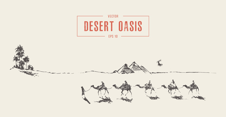 Caravan camels walking towards oasis desert vector 免版税图像 - 121673456