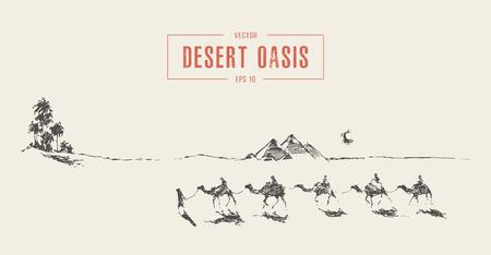 Caravana de camellos caminando hacia el desierto de oasis
