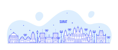 Surat skyline, Gujarat, India. This illustration represents the city with its most notable buildings. Vector is fully editable, every object is holistic and movable Stock Vector - 124481587