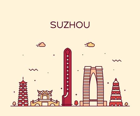 Suzhou skyline East China vector linear style