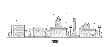 Pune skyline, Maharashtra, India. This illustration represents the city with its most notable buildings. Vector is fully editable, every object is holistic and movable Ilustrace