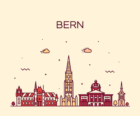 Bern skyline, Switzerland. Trendy vector illustration linear style