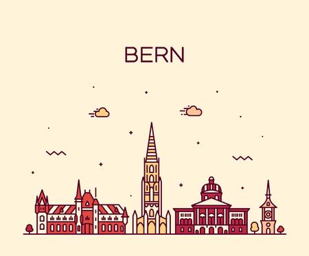 Bern skyline, Switzerland. Trendy vector illustration linear style