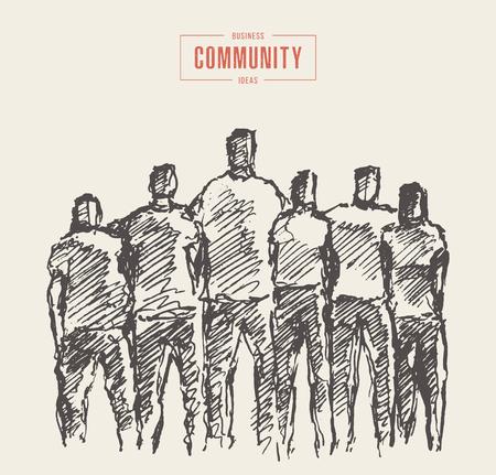 Menschen halten Händchen im Geiste der Zusammengehörigkeit, Freiwillige, Vektorillustration, Handzeichnung, Skizze Vektorgrafik