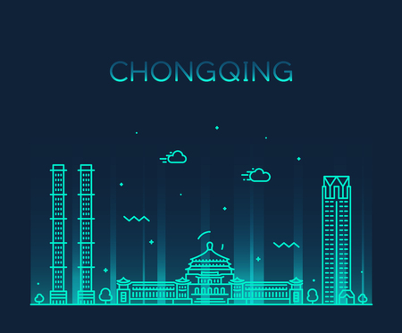 Chongqing skyline, southwest China. Trendy vector illustration, linear style Çizim