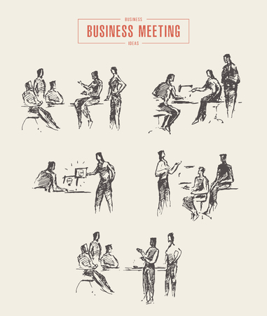 Collection of people sketches, business meetings, office, vector Illustration, hand drawn Çizim