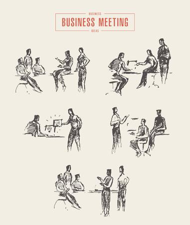Sammlung von Menschenskizzen, Geschäftstreffen, Büro, Vektor-Illustration, von Hand gezeichnet