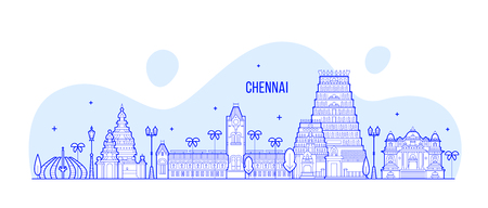 Chennai skyline, Tamil Nadu, India. This illustration represents the city with its most notable buildings. Vector is fully editable, every object is holistic and movable Vector Illustration