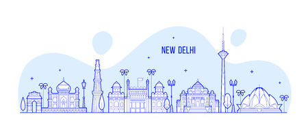 New Delhi skyline, India. This illustration represents the city with its most notable buildings. Vector is fully editable, every object is holistic and movable Illustration