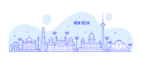 New Delhi skyline, India. This illustration represents the city with its most notable buildings. Vector is fully editable, every object is holistic and movable Ilustrace