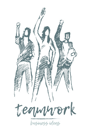 Sketch of three people standing near each other in the spirit of togetherness, teamwork, partnership concept, hand drawn vector illustration