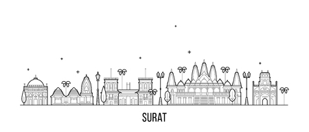 Surat skyline, Gujarat, India. This illustration represents the city with its most notable buildings. Vector is fully editable, every object is holistic and movable