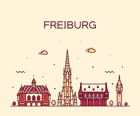 Freiburg im Breisgau skyline, Baden-Wurttemberg, Germany. Trendy vector illustration, linear style