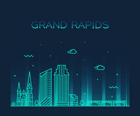 Grand Rapids skyline, Michigan, USA. Trendy vector illustration linear style