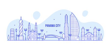 Panama City skyline Republic Panama city vector Illusztráció