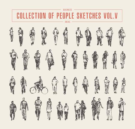 Colección de personas bocetos vector dibujado a mano