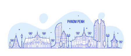 Phnom Penh skyline Cambodia city buildings vector