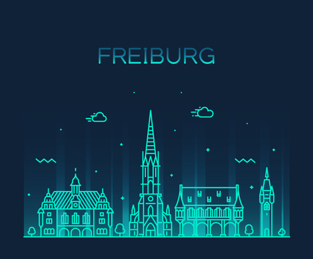 Freiburg Breisgau Baden linear city Germany vector Illustration