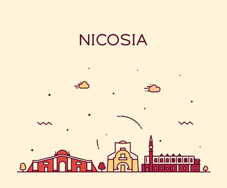Nicosia skyline, Cyprus. Trendy vector illustration linear style 일러스트